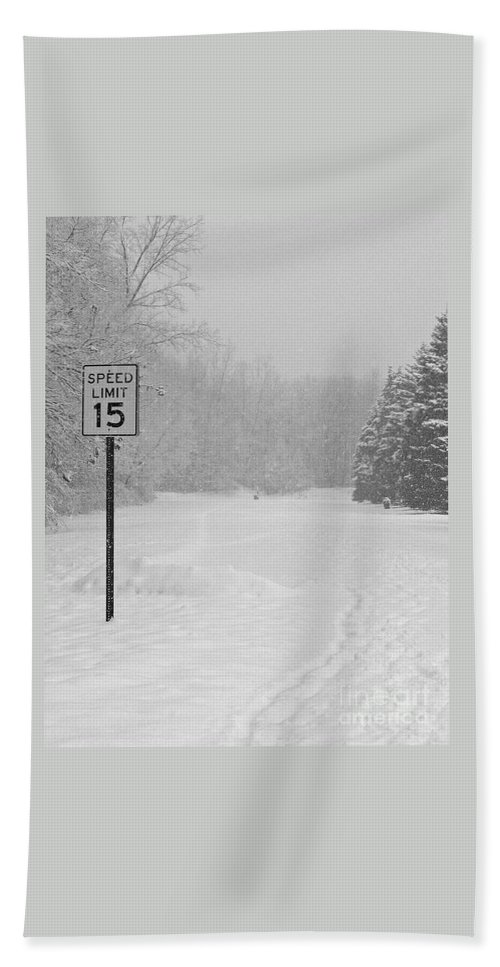 Winter Hand Towel featuring the photograph Slowed To A Walk by Ann Horn