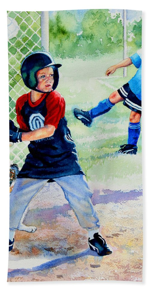 Baseball Bath Sheet featuring the painting Slugger And Kicker by Hanne Lore Koehler