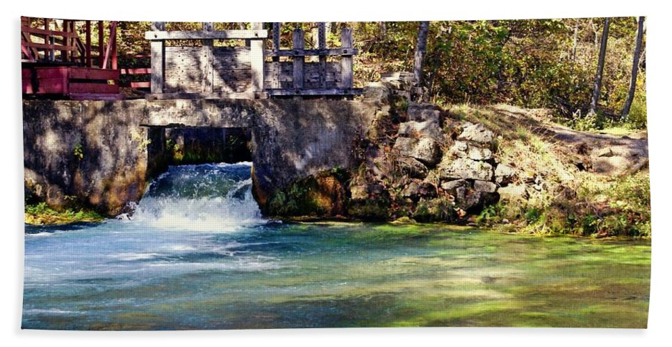 Jack's Fork River Bath Sheet featuring the photograph Sluice Gate At Alley Spring by Marty Koch
