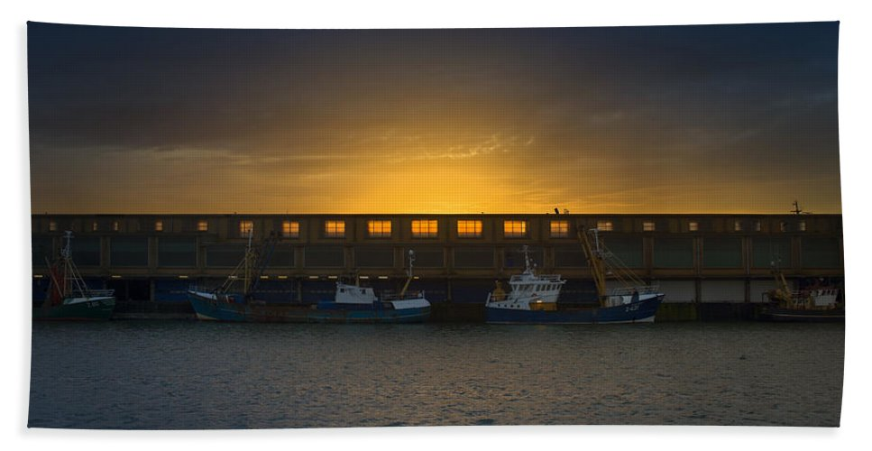 Night Bath Sheet featuring the photograph Small Boat Waiting In The Harbor Of Oostende by TouTouke A Y