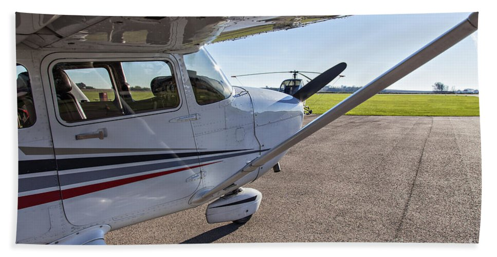 Plane Hand Towel featuring the photograph Small Plane In Private Airport by Sophie McAulay