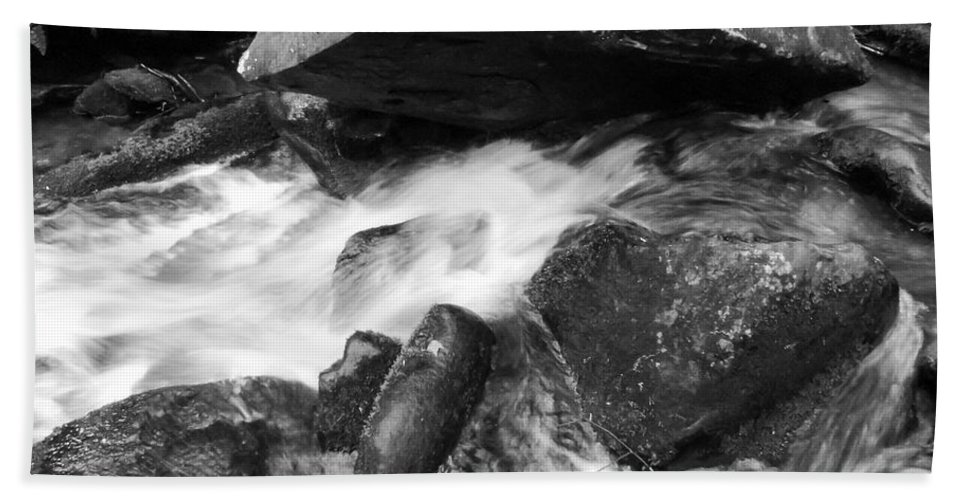 Stream Hand Towel featuring the photograph Small Stream Smoky Mountains Bw by Cynthia Woods