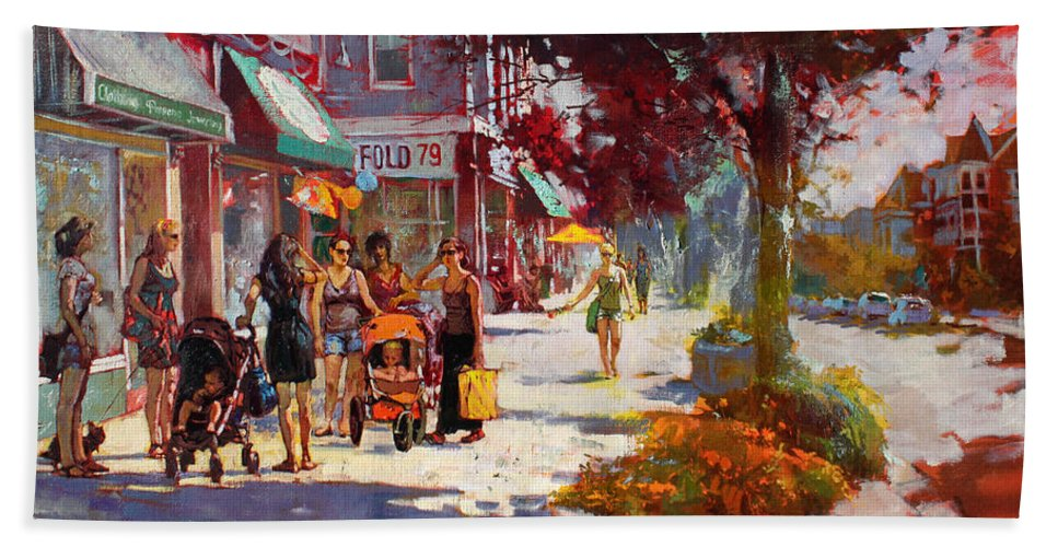 Landscape Hand Towel featuring the painting Small Talk In Elmwood Ave by Ylli Haruni