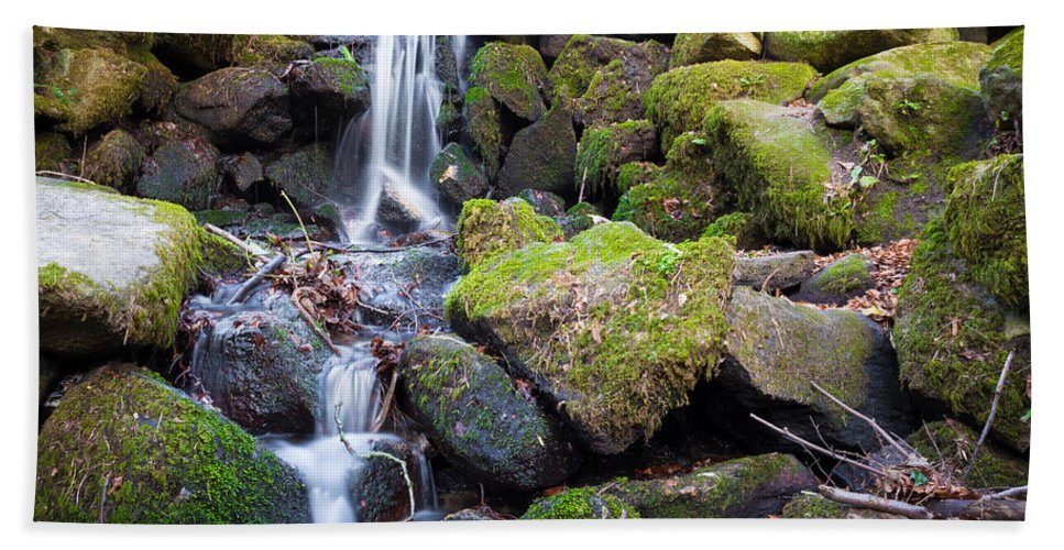 Dublin Hand Towel featuring the photograph Small Waterfall In Marlay Park Dublin by Semmick Photo