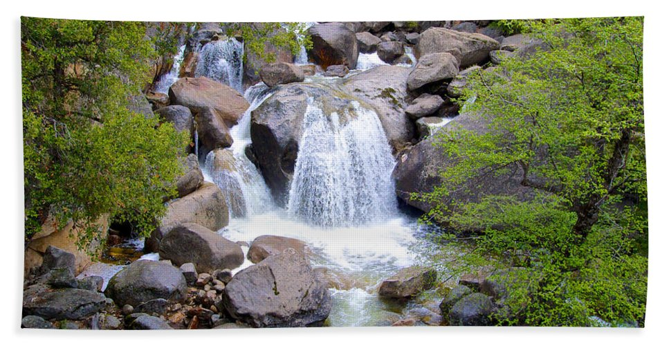 Small Waterfall Bath Sheet featuring the photograph Small Waterfall Near Hwy 120 Roadside In Yosemite Np-ca- 2013 by Ruth Hager