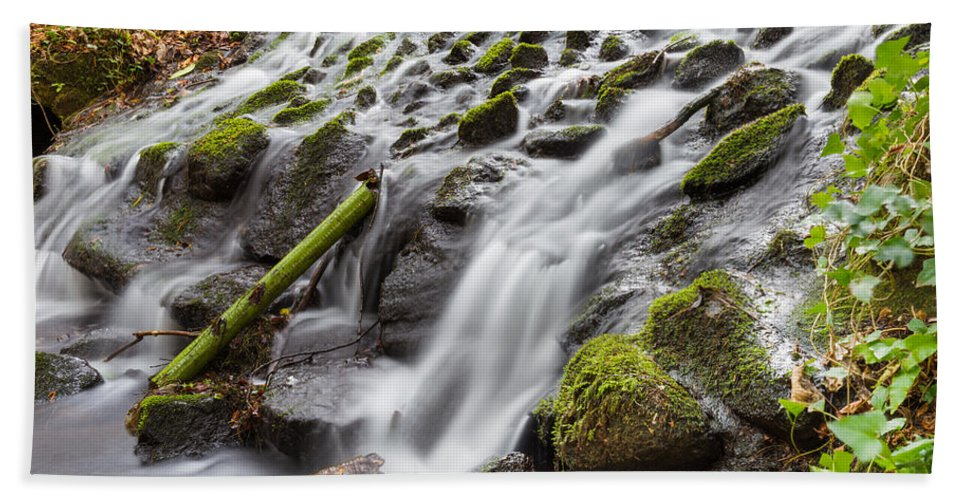 Dublin Hand Towel featuring the photograph Small Waterfalls In Marlay Park by Semmick Photo