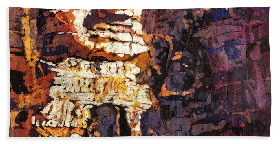Batik Hand Towel featuring the painting Smile. It's Contagious by Ryan Fox