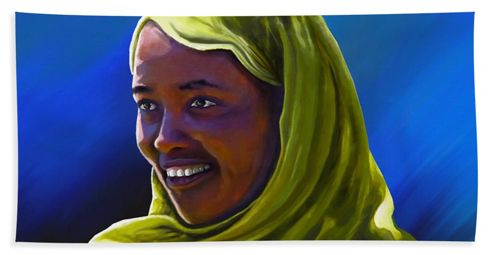 Lady Hand Towel featuring the painting Smiling Lady by Anthony Mwangi