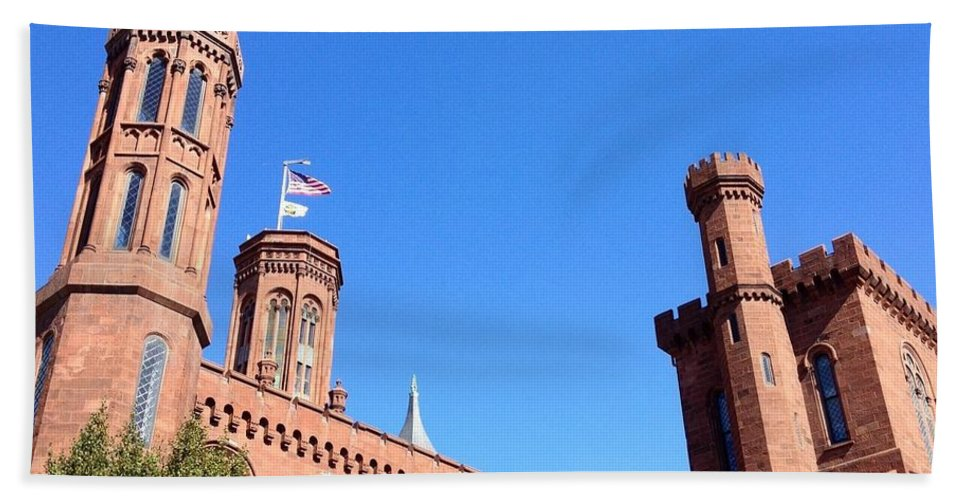 Smithsonian Castle Bath Sheet featuring the photograph Smithsonian Castle by Lois Ivancin Tavaf