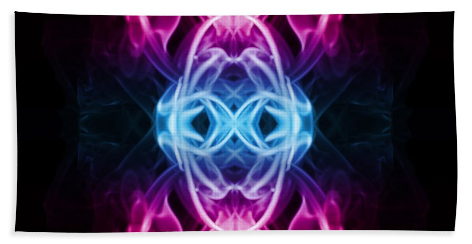 Smoking Trails Hand Towel featuring the photograph Smoke Art 58 by Steve Purnell