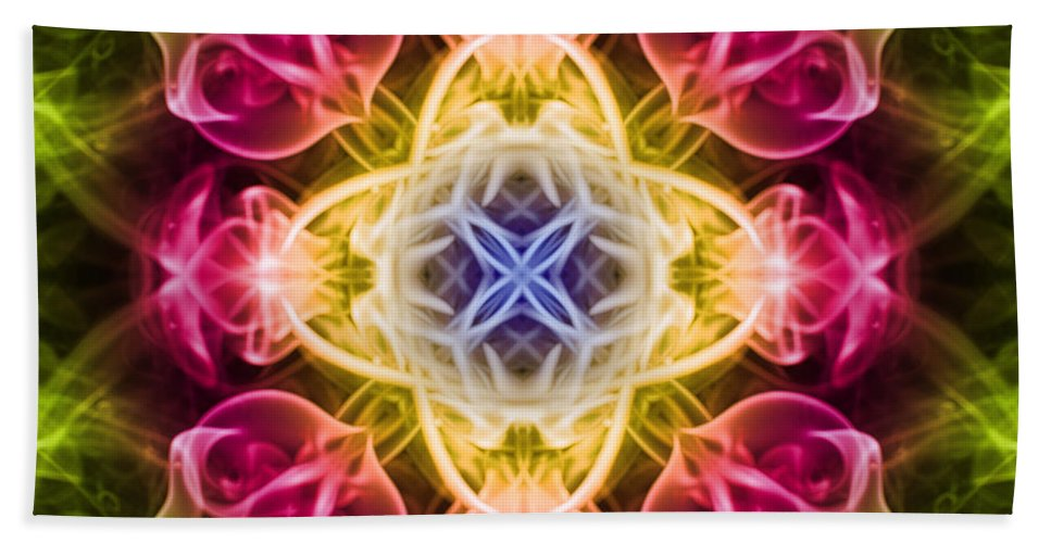 Smoking Trails Hand Towel featuring the photograph Smoke Art 59 by Steve Purnell