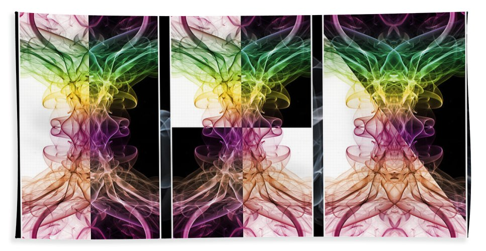 Smoking Trails Hand Towel featuring the photograph Smoke Art Triptych by Steve Purnell