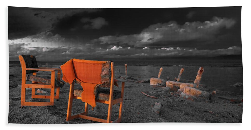 Beach Bath Sheet featuring the photograph Smoke Break In The Ruins Black And White by Scott Campbell
