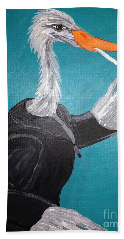 Egret Bath Sheet featuring the painting Smoking Egret In Leather Jacket by Melissa Darnell Glowacki