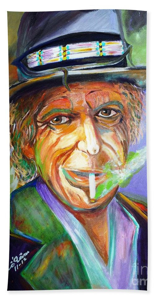 Keith Richards Hand Towel featuring the painting Smoking by To-Tam Gerwe
