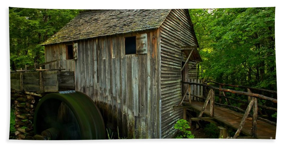Cades Cove Grist Mill Hand Towel featuring the photograph Smoky Mountains Grist Mill by Adam Jewell