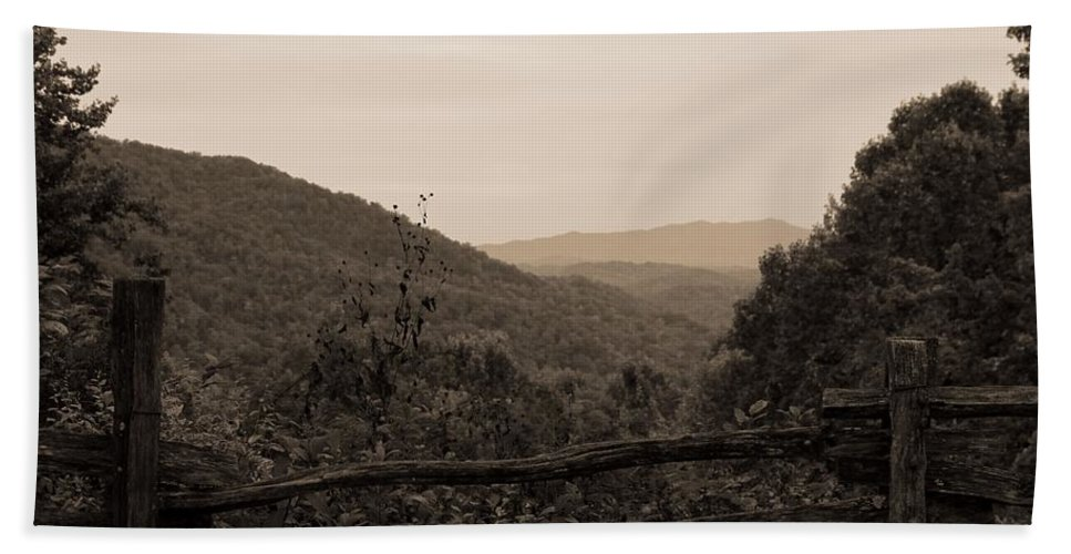 Smoky Mountains Lookout Point Hand Towel featuring the photograph Smoky Mountains Lookout Point by Dan Sproul