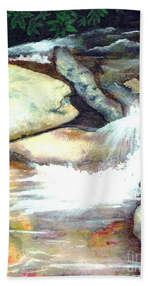 Fine Art Hand Towel featuring the painting Smoky Mountains Waterfall by Patricia Griffin Brett