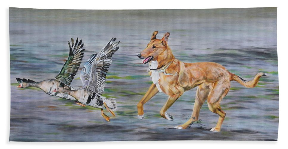 Dog Hand Towel featuring the painting Smooth Collie Trying To Herd Geese by Michelle Miron-Rebbe
