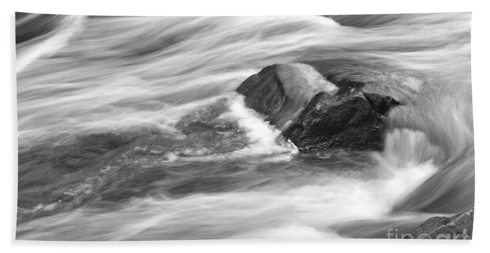 Cascade River State Park Minnesota Black And White Flow Flowing Hand Towel featuring the photograph Smooth Flow by Gary Meinz