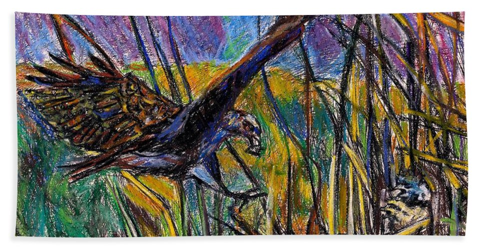 Snail Kite Hand Towel featuring the painting Snail Kite by Kendall Kessler