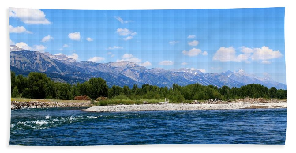 Snake River Hand Towel featuring the photograph Snake And Tetons by Catie Canetti