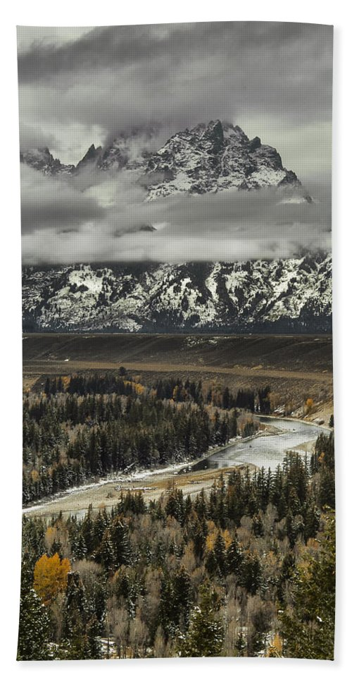Lake Hand Towel featuring the photograph Snake River - Tetons by Erika Fawcett