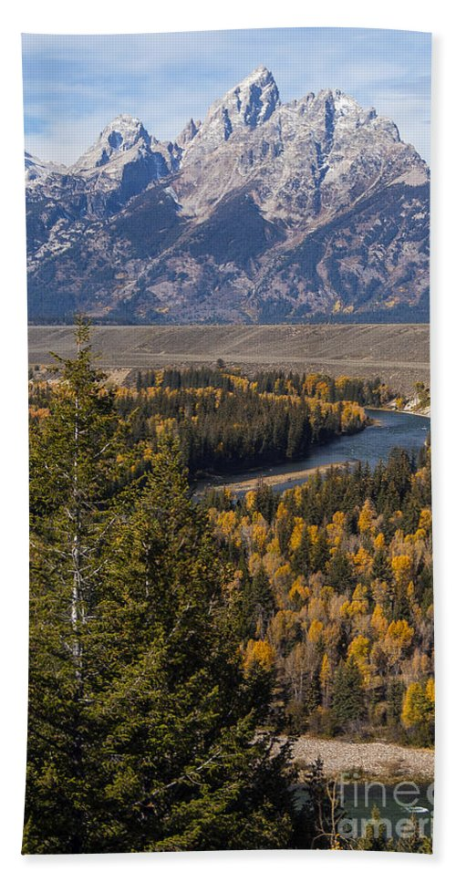 Grand Teton National Park Hand Towel featuring the photograph Snake River Overlook One by Bob Phillips