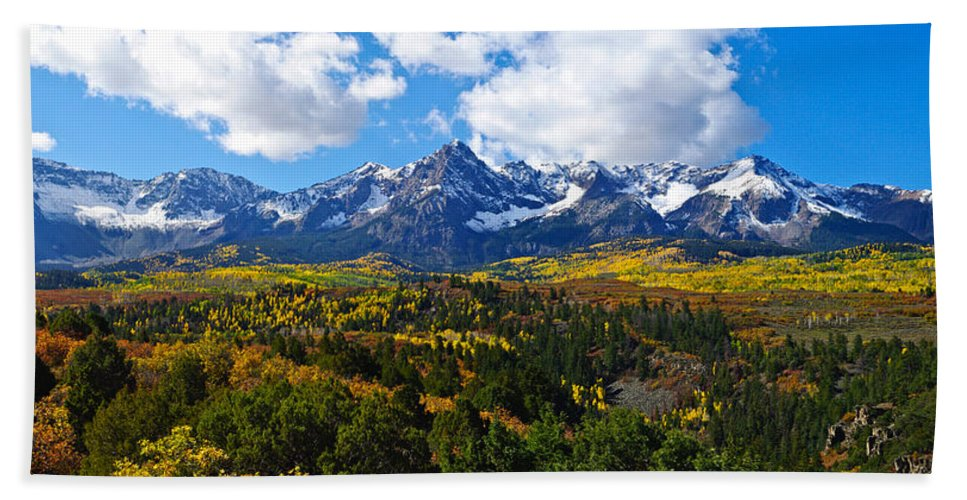 Colorado Photographs Hand Towel featuring the photograph The Sneffles Range by Gary Benson