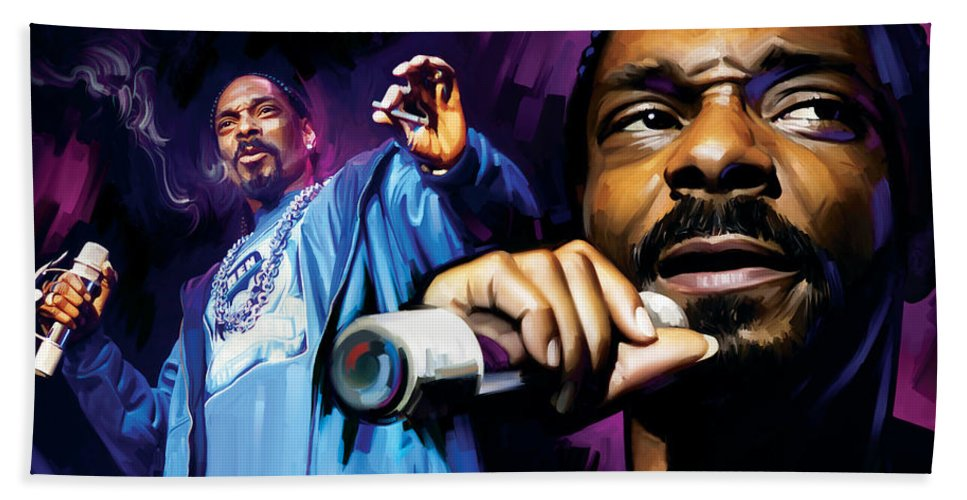 Snoop Dogg Paintings Hand Towel featuring the mixed media Snoop Dogg Artwork by Sheraz A