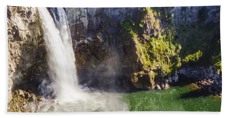 Snoqualime Falls Washington Waterfall Waterfalls Tree Trees Rock Water Pool Pools Landscape Landscapes Waterscape Waterscapes Hand Towel featuring the photograph Snoqualime Falls And Pool by Bob Phillips