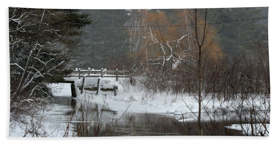 Stream Bath Sheet featuring the photograph Snow And Stream by Linda Kerkau
