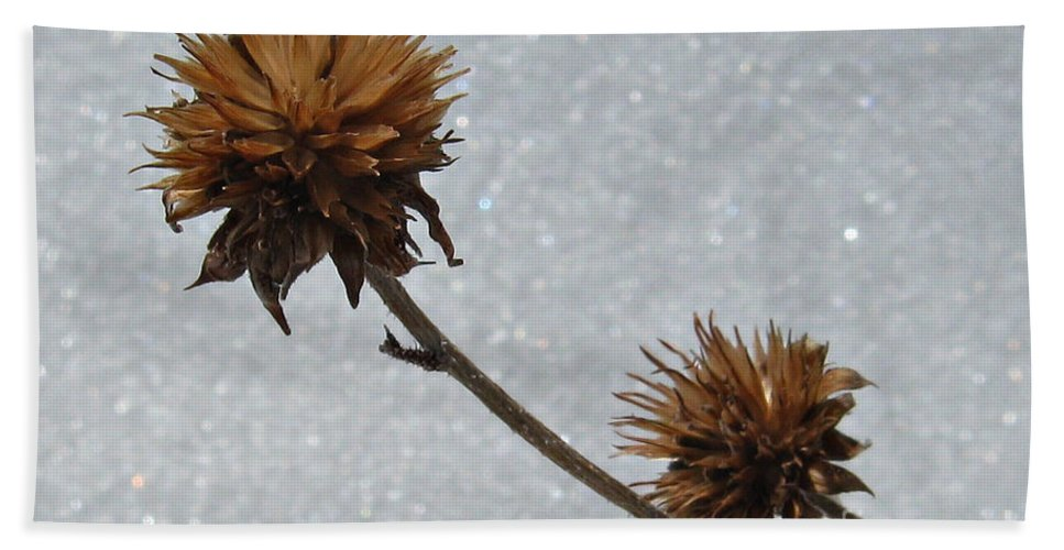 Nature Bath Sheet featuring the photograph Snow And Thistles by Janice Westerberg
