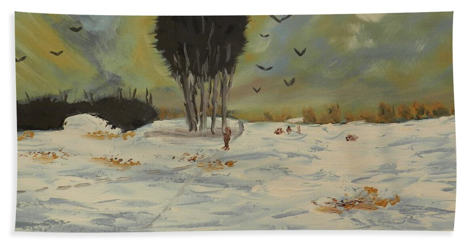 Impressionist Bath Sheet featuring the painting Snow At Christmas by Pamela Meredith