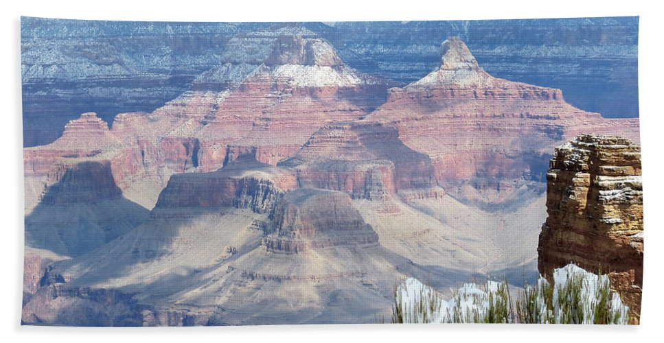 Grand Canyon Bath Sheet featuring the photograph Snow At The Grand Canyon by Laurel Powell