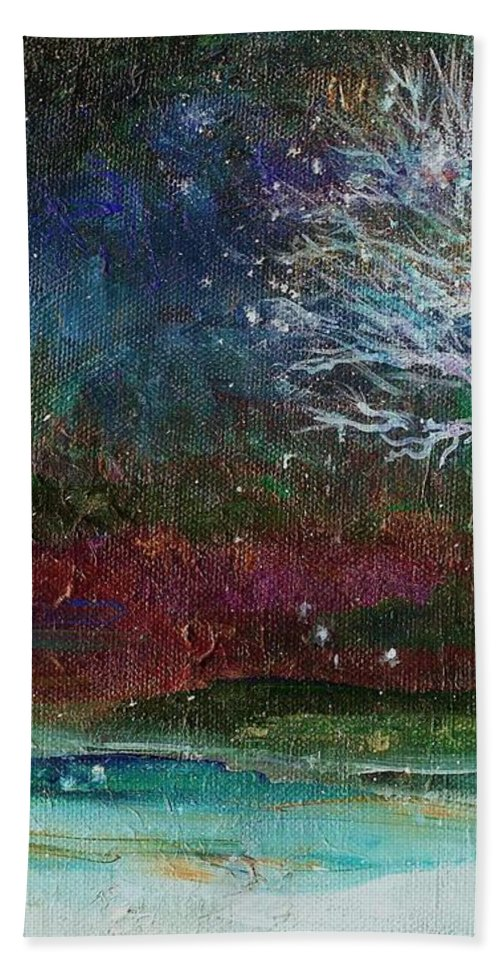 Landscape Bath Sheet featuring the painting Snow At Twilight by Mary Wolf