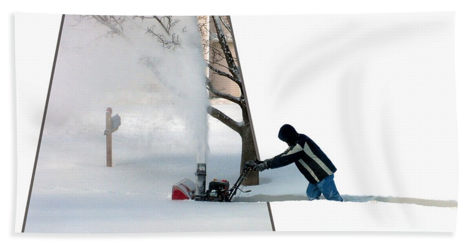 December Bath Towel featuring the photograph Snow Blower by Thomas Woolworth