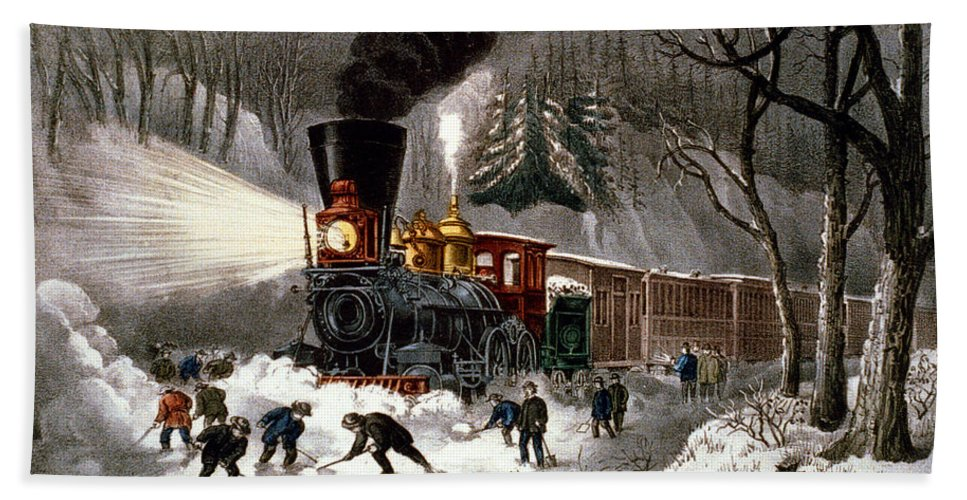 Currier And Ives Hand Towel featuring the digital art Snow Bound by Currier and Ives