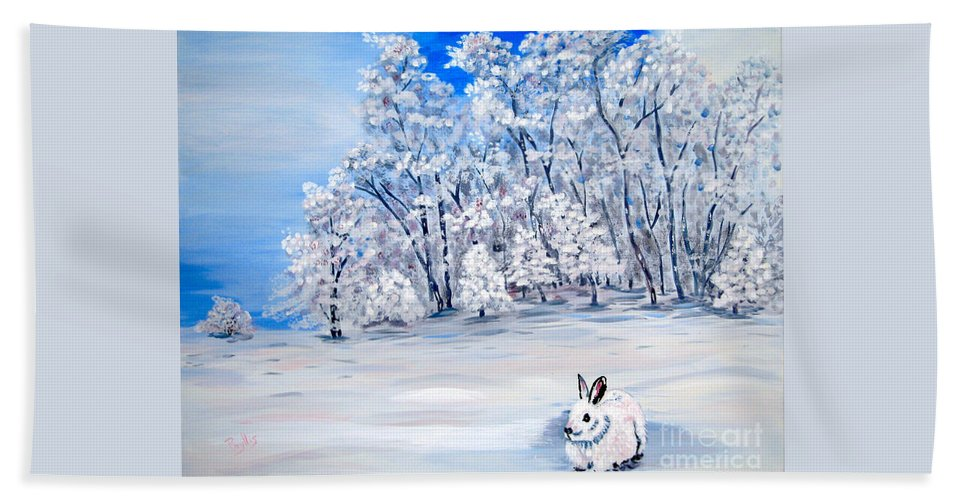 Bunny Bath Sheet featuring the painting Snow Bunny by Phyllis Kaltenbach