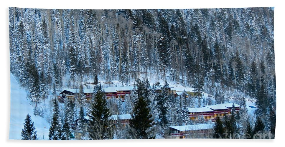 Taos Ski Valley Hand Towel featuring the photograph Snow Cabins by LeLa Becker