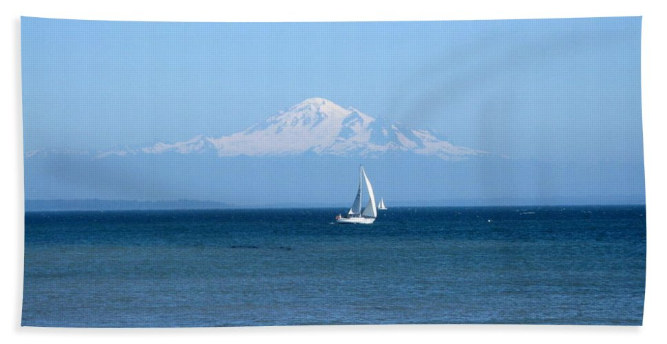 Mountain Hand Towel featuring the photograph Snow Cap On Mount Baker Washington Us by Lena Photo Art