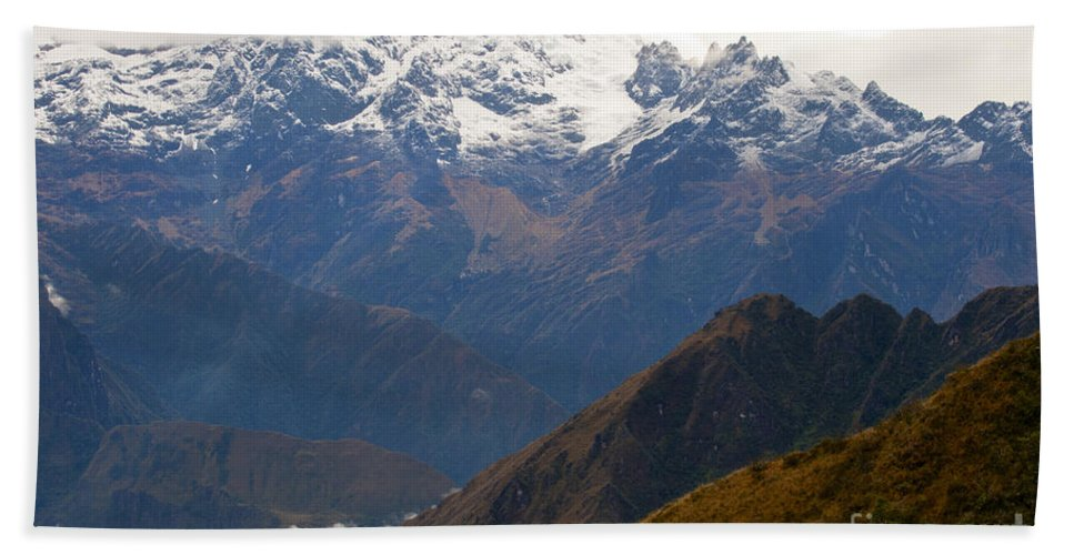 Peruvian Andes Hand Towel featuring the photograph Snow Clouds In The Andes by Bob Phillips
