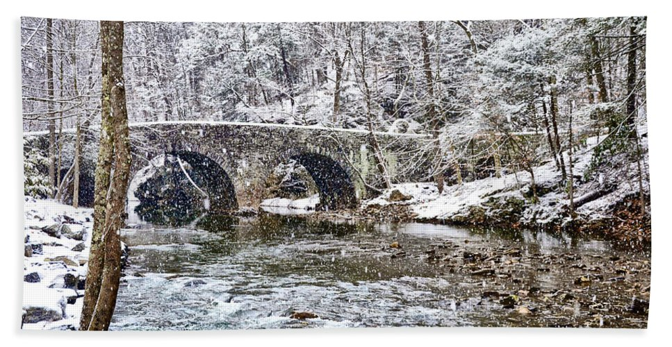 Snow Hand Towel featuring the photograph Snow Coming Down On The Wissahickon Creek by Bill Cannon