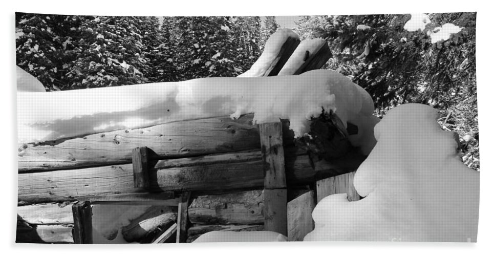 Nature Bath Sheet featuring the photograph Snow Covered History by Tonya Hance