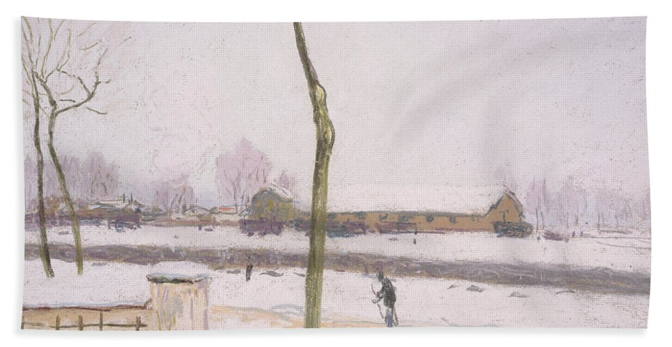 Sisley Bath Towel featuring the painting Snow Effect Effet De Neige Pastel On Paper C. 1880-1885 by Alfred Sisley