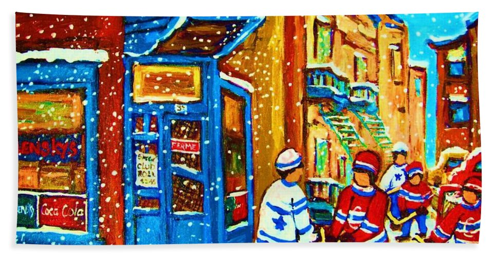 Wilenskys Bath Sheet featuring the painting Snow Falling On The Game by Carole Spandau