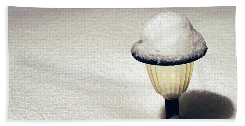 Snow Hand Towel featuring the photograph Snow Hat by Karen Adams