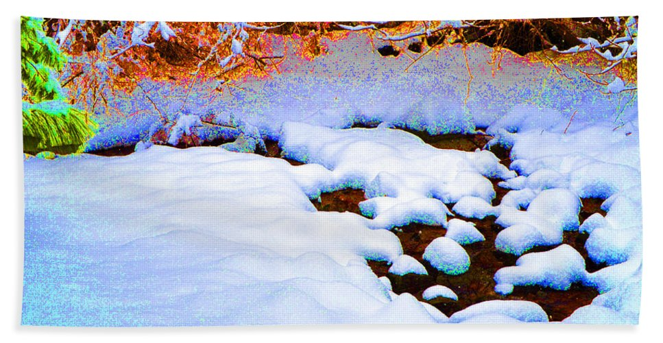 Snow Hand Towel featuring the digital art Snow In Color by Eva Kaufman