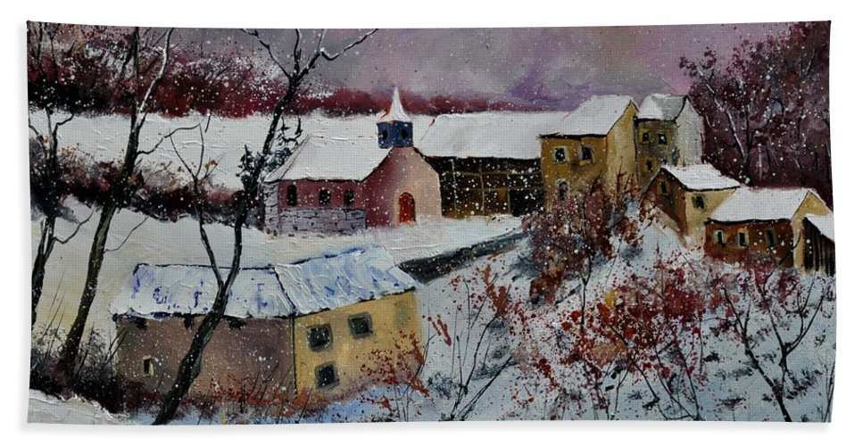 Landscape Bath Sheet featuring the painting Snow in Houroy 672131 by Pol Ledent