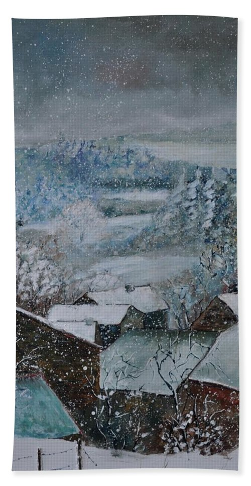 Landscape Bath Sheet featuring the painting Snow in Ouroy by Pol Ledent